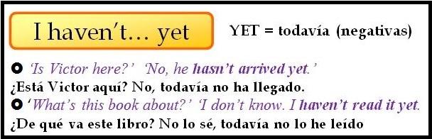 El Presente Perfecto En Inglés Just Already Yet For Y Since