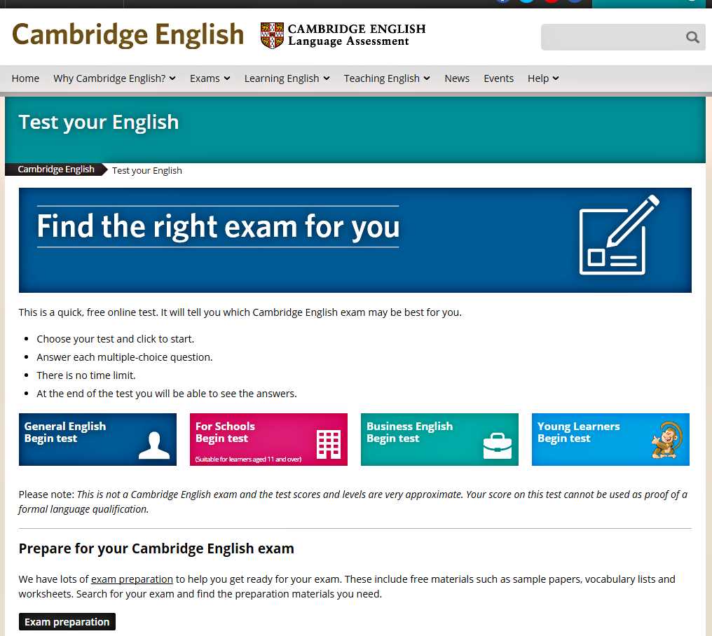 test de inglés online